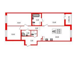 Квартира в ЖК «Черная Речка», 3 комнатная, 87.86 м², 10 этаж