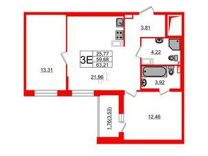 Квартира в ЖК «Черная Речка», 2 комнатная, 59.68 м², 12 этаж