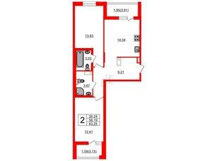 Квартира в ЖК «Черная Речка», 2 комнатная, 56.19 м², 9 этаж