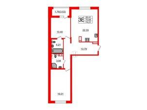 Квартира в ЖК «Черная Речка», 2 комнатная, 70.68 м², 3 этаж