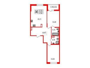 Квартира в ЖК «Черная Речка», 2 комнатная, 74.29 м², 8 этаж
