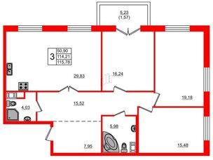Квартира в ЖК Петровская доминанта, 3 комнатная, 115.78 м², 6 этаж