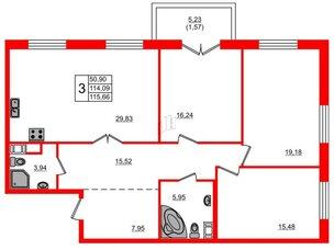Квартира в ЖК Петровская доминанта, 3 комнатная, 115.66 м², 8 этаж