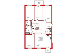 Квартира в ЖК Петровская доминанта, 5 комнатная, 172.38 м², 6 этаж