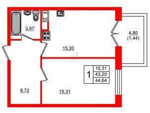 Квартира в ЖК Петровская доминанта, 1 комнатная, 44.64 м², 7 этаж