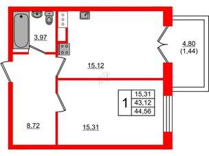 Квартира в ЖК Петровская доминанта, 1 комнатная, 44.56 м², 8 этаж