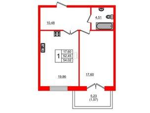 Квартира в ЖК Петровская доминанта, 1 комнатная, 54.02 м², 5 этаж