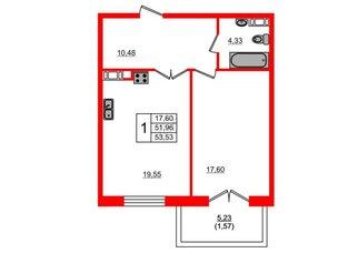 Квартира в ЖК Петровская доминанта, 1 комнатная, 53.53 м², 6 этаж