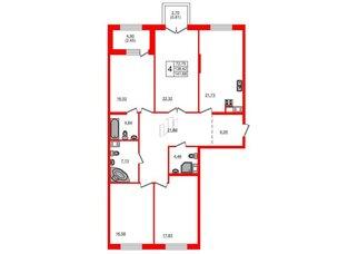 Квартира в ЖК Петровская доминанта, 4 комнатная, 141.68 м², 6 этаж