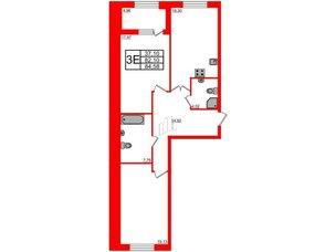 Квартира в ЖК Петровская доминанта, 2 комнатная, 84.58 м², 2 этаж