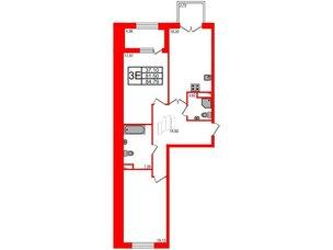 Квартира в ЖК Петровская доминанта, 2 комнатная, 84.79 м², 4 этаж