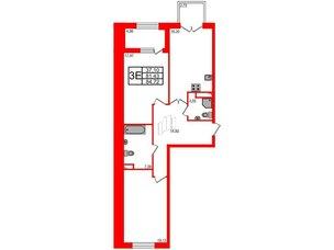Квартира в ЖК Петровская доминанта, 2 комнатная, 84.72 м², 6 этаж