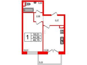 Квартира в ЖК Петровская доминанта, 1 комнатная, 46.15 м², 4 этаж