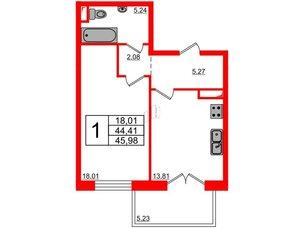 Квартира в ЖК Петровская доминанта, 1 комнатная, 45.98 м², 6 этаж