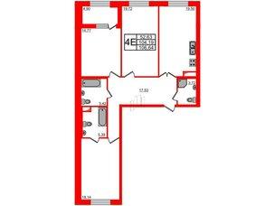 Квартира в ЖК Петровская доминанта, 3 комнатная, 106.64 м², 5 этаж