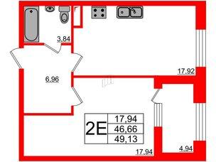 Квартира в ЖК Петровская доминанта, 1 комнатная, 49.13 м², 3 этаж