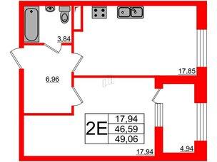 Квартира в ЖК Петровская доминанта, 1 комнатная, 49.06 м², 4 этаж