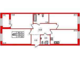 Квартира в ЖК Петровская доминанта, 3 комнатная, 111.85 м², 2 этаж