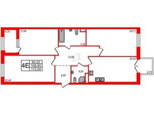 Квартира в ЖК Петровская доминанта, 3 комнатная, 112.04 м², 4 этаж