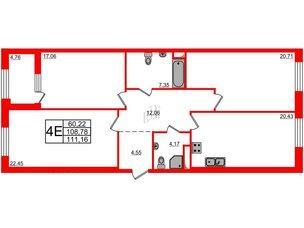 Квартира в ЖК Петровская доминанта, 3 комнатная, 111.16 м², 7 этаж