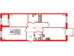 Квартира в ЖК Петровская доминанта, 3 комнатная, 111.82 м², 8 этаж