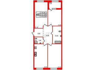 Квартира в ЖК Петровская доминанта, 3 комнатная, 110.09 м², 2 этаж