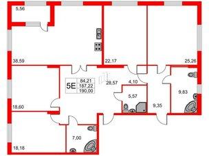 Квартира в ЖК Петровская доминанта, 4 комнатная, 190 м², 6 этаж