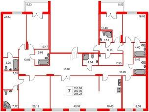 Квартира в ЖК Петровская доминанта, 7 комнатная, 286.22 м², 2 этаж