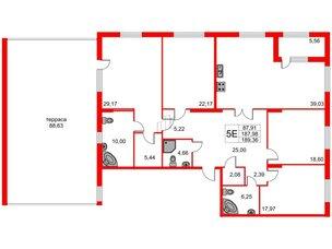 Квартира в ЖК Петровская доминанта, 4 комнатная, 217.35 м², 2 этаж