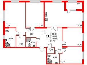 Квартира в ЖК Петровская доминанта, 4 комнатная, 189.36 м², 6 этаж