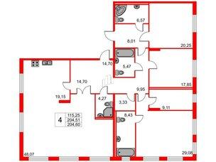 Квартира в ЖК Петровская доминанта, 4 комнатная, 204.51 м², 2 этаж