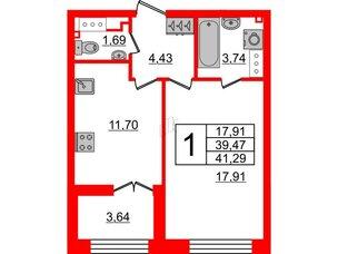Квартира в ЖК The One, 1 комнатная, 39.47 м², 7 этаж