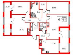Квартира в ЖК The One, 4 комнатная, 129.75 м², 7 этаж