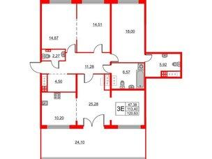 Квартира в ЖК The One, 2 комнатная, 113.4 м², 7 этаж