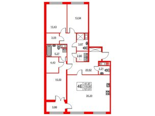 Квартира в ЖК The One, 3 комнатная, 119.08 м², 6 этаж