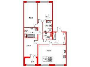Квартира в ЖК The One, 3 комнатная, 106.53 м², 5 этаж