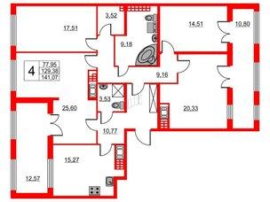 Квартира в ЖК The One, 4 комнатная, 129.38 м², 8 этаж