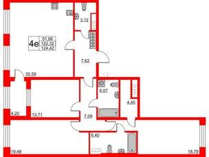 Квартира в ЖК The One, 3 комнатная, 122.32 м², 6 этаж