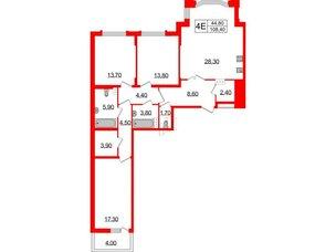 Квартира в ЖК Болконский, 3 комнатная, 108.4 м², 3 этаж