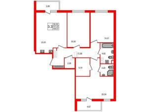 Квартира в ЖК Стрижи в Невском, 3 комнатная, 98.6 м², 4 этаж