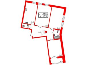 Квартира в ЖК Эталон на Неве, 3 комнатная, 115.3 м², 4 этаж