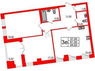 Квартира в ЖК Эталон на Неве, 2 комнатная, 84.7 м², 6 этаж
