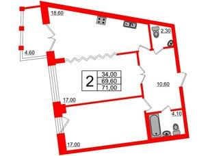 Квартира в ЖК Эталон на Неве, 2 комнатная, 71.5 м², 9 этаж