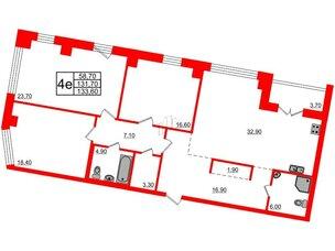 Квартира в ЖК Эталон на Неве, 3 комнатная, 134.1 м², 6 этаж
