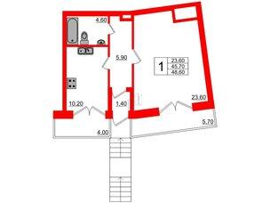 Квартира в ЖК Эталон на Неве, 1 комнатная, 48.6 м², 1 этаж
