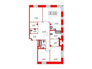 Квартира в ЖК Футурист, 3 комнатная, 135.3 м², 3 этаж