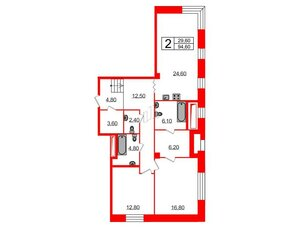 Квартира в ЖК Футурист, 2 комнатная, 94.6 м², 1 этаж
