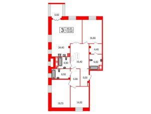 Квартира в ЖК Футурист, 3 комнатная, 133.6 м², 3 этаж