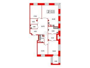 Квартира в ЖК Футурист, 3 комнатная, 134.1 м², 2 этаж