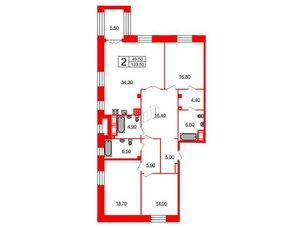 Квартира в ЖК Футурист, 3 комнатная, 133.5 м², 5 этаж